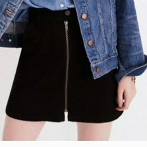 Madewell Black Denim Zip Up Skirt size 32
